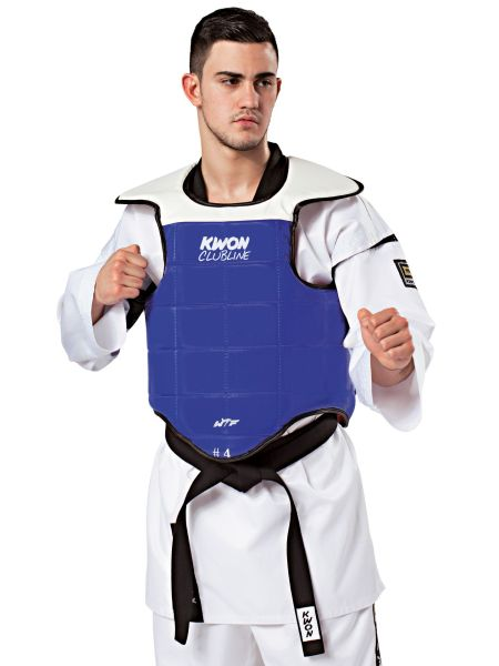 KWON Clubline Taekwondo Kampfweste WTF rec. getragen blau